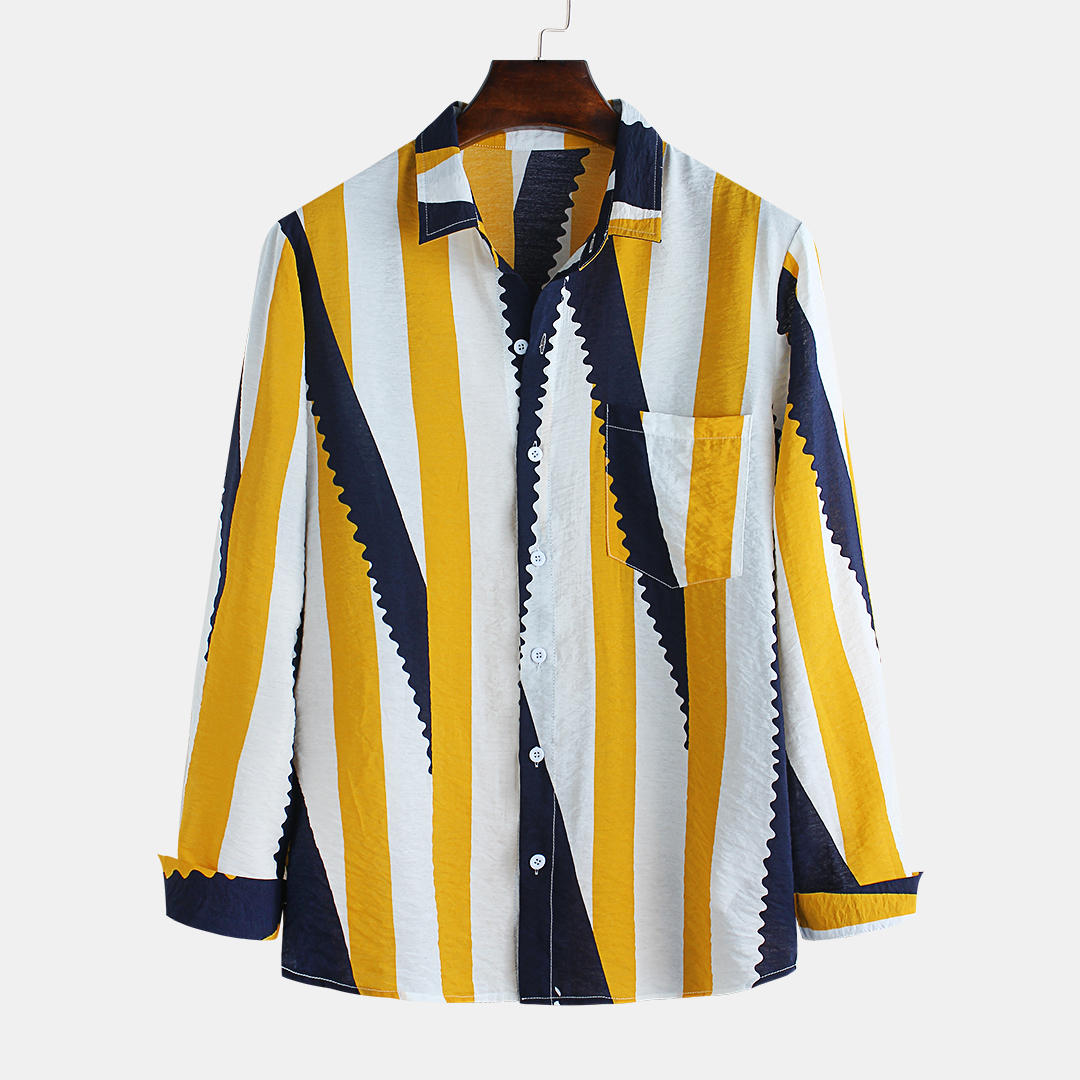Mens Hit Color Striped Printing Chest Pocket Long Sleeve Lapel Shirts