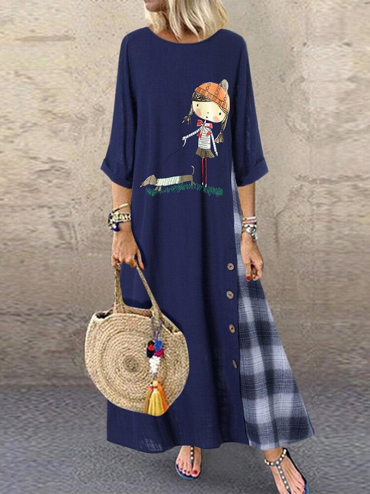 Phụ nữ nút hoạt hình kẻ sọc chắp vá High Low Hem Casual Dress