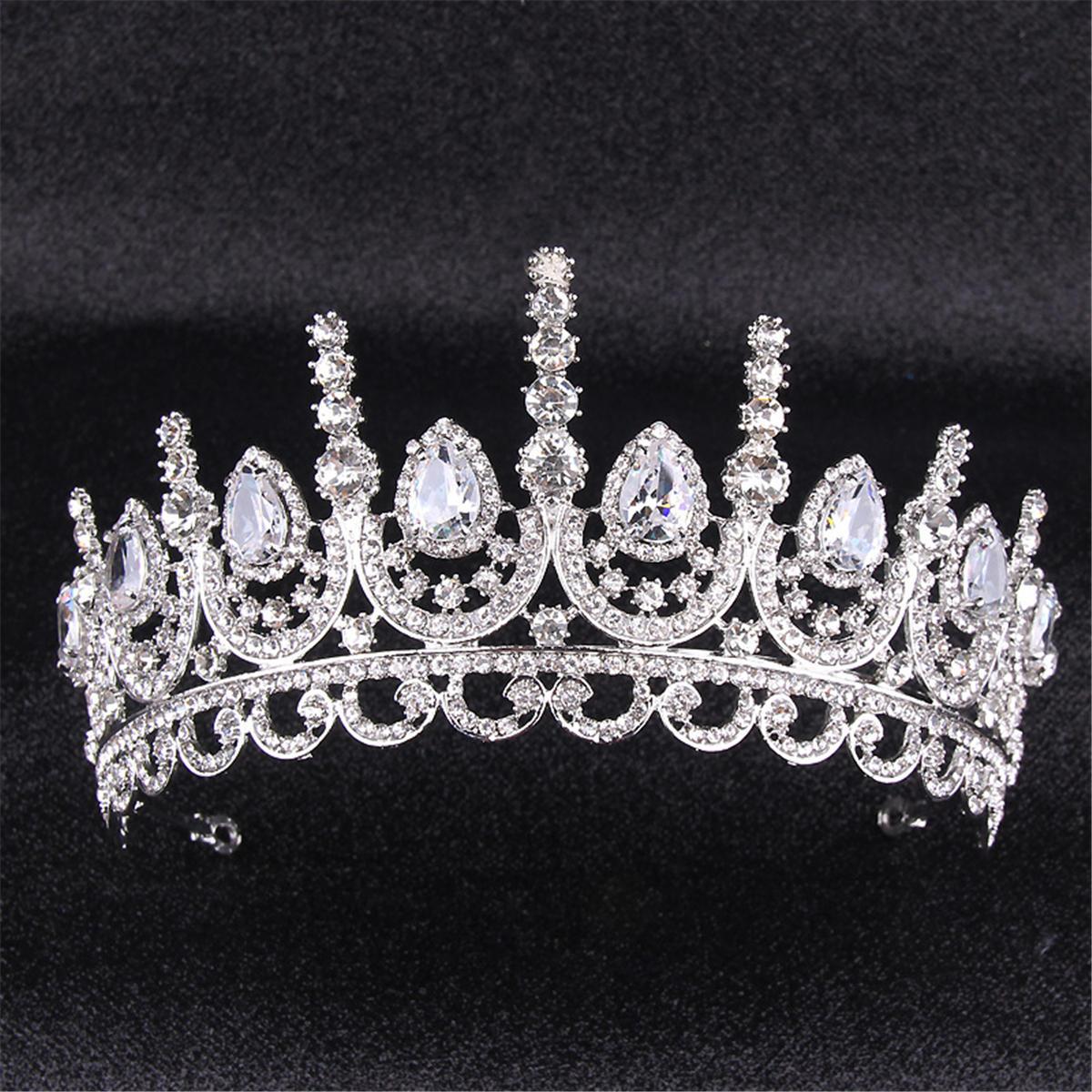Trang sức cưới cao cấp cô dâu vương miện headband pha lê rhinestone công chúa Tiara Headband