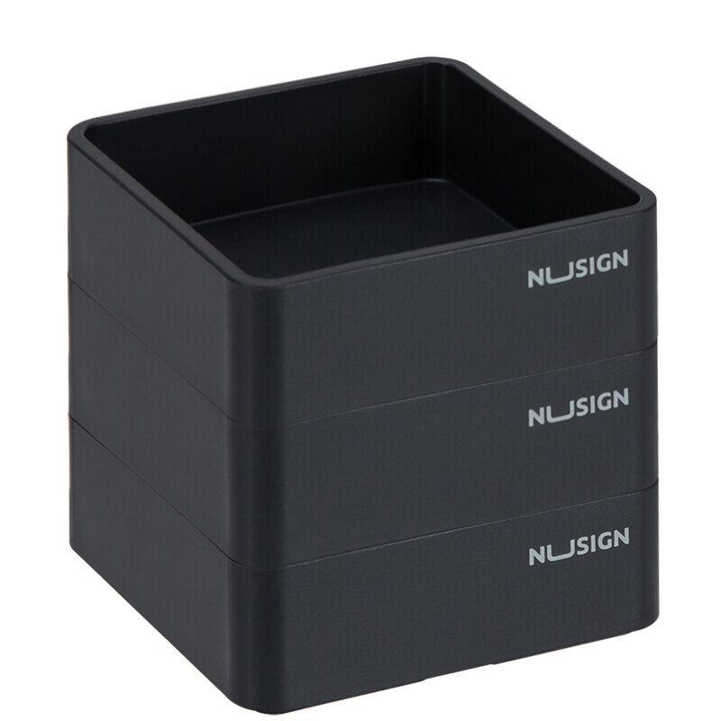 NUSIGN NS028 Stackable Combination Small 3 Layers Square Trays ABS Paperclip Holder Storage Tray Desktop Organizer