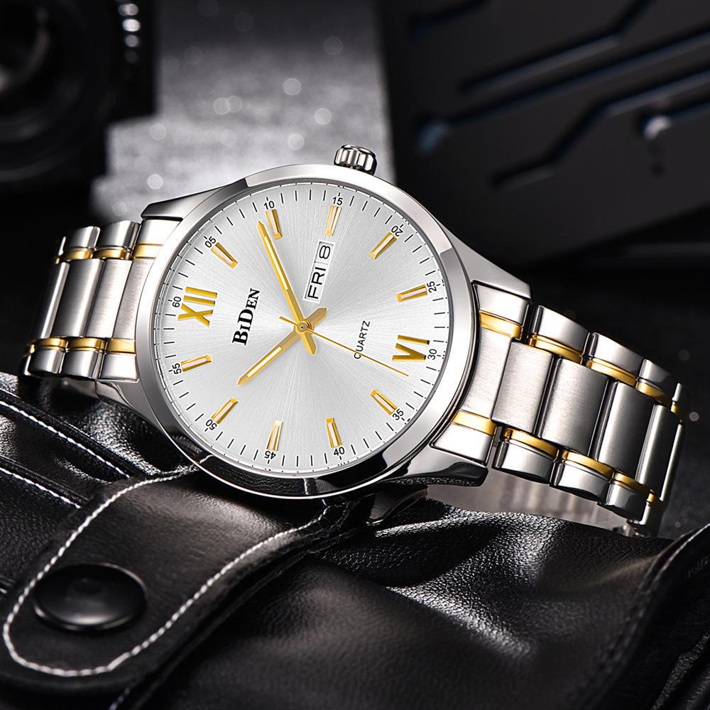BIDEN 0032 Full Steel Waterproof Men Watch Casual Style Calendar Quartz Watches