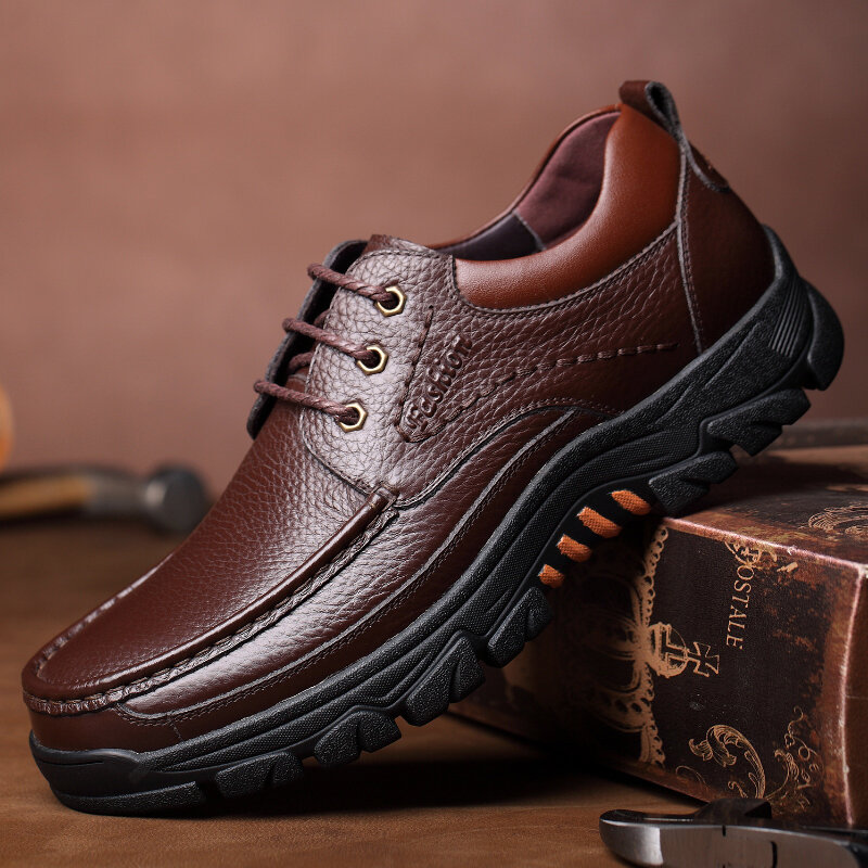 Men Genuine Leather Pure Color Soft Insole Slip Resistant Casual Business Oxfords