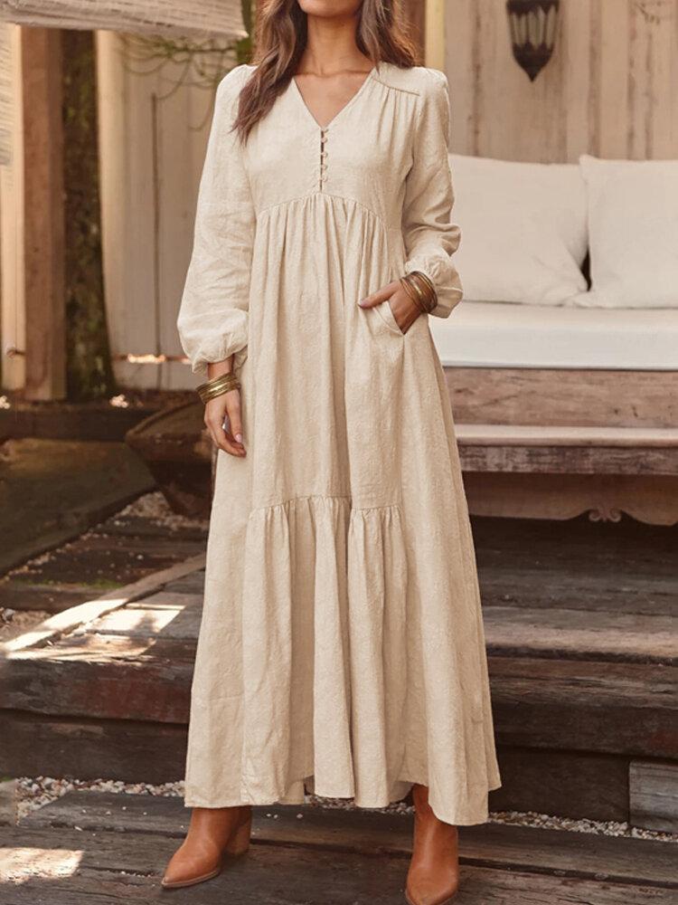 Kadınlar Katı Renk V Yaka Uzun Kollu Nedensel Maxi Elbise