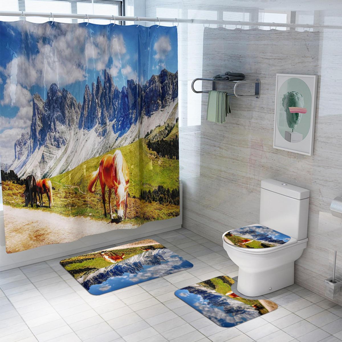 Oil Painting Horse Shower Curtain Bath Mat Toilet Cover Rug Bathroom Decor Set