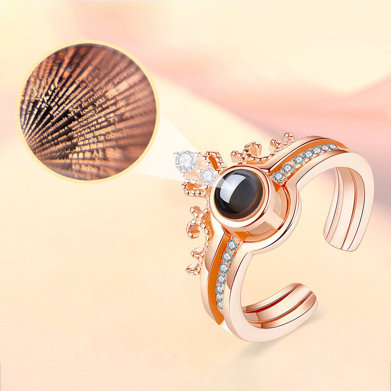 Trendy 100 Languages I Love You Projection Ring Detachable Open Finger Ring Couple Jewelry