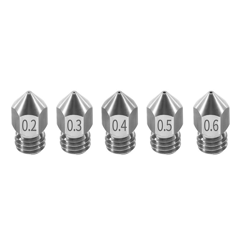TWO TREES® 5PCS Nozzle 0.2mm/0.3mm/0.4mm/0.5mm/0.6mm M6 Thread Stainless Steel for 1.75mm Filament 3D Printer