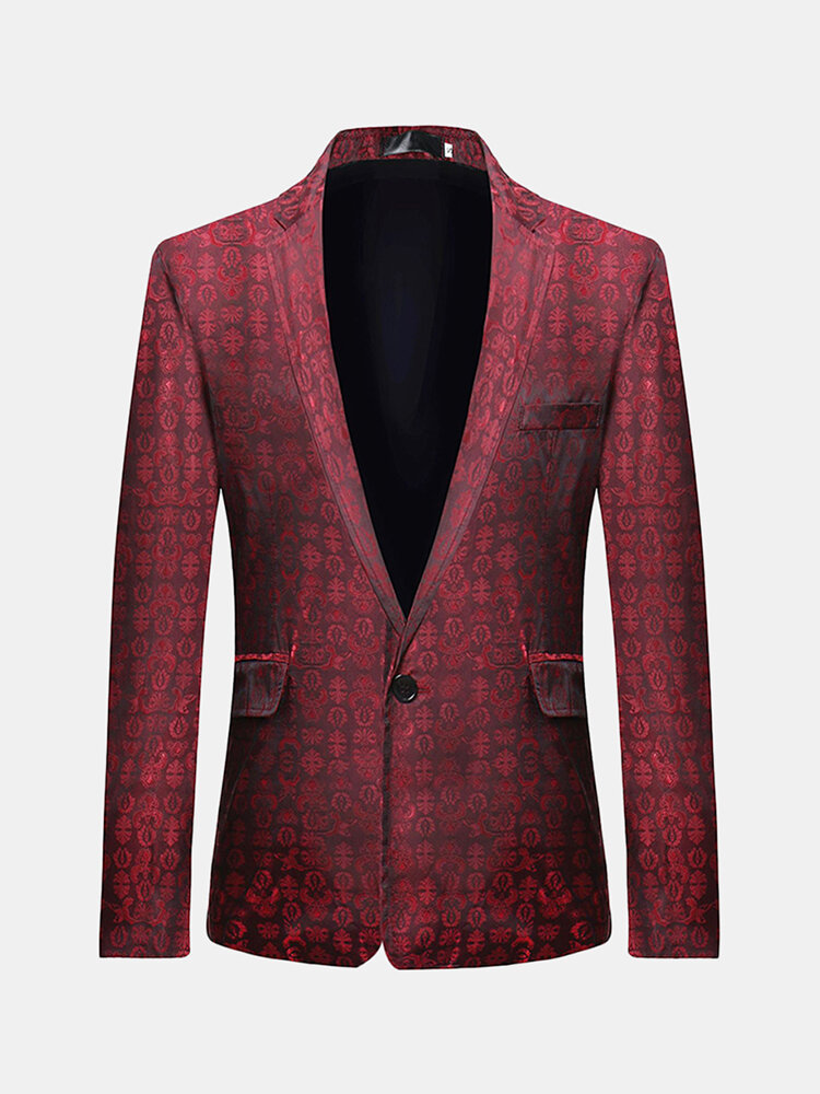 Mens Business Casual Print Slim Young Blazer, Banggood  - buy with discount