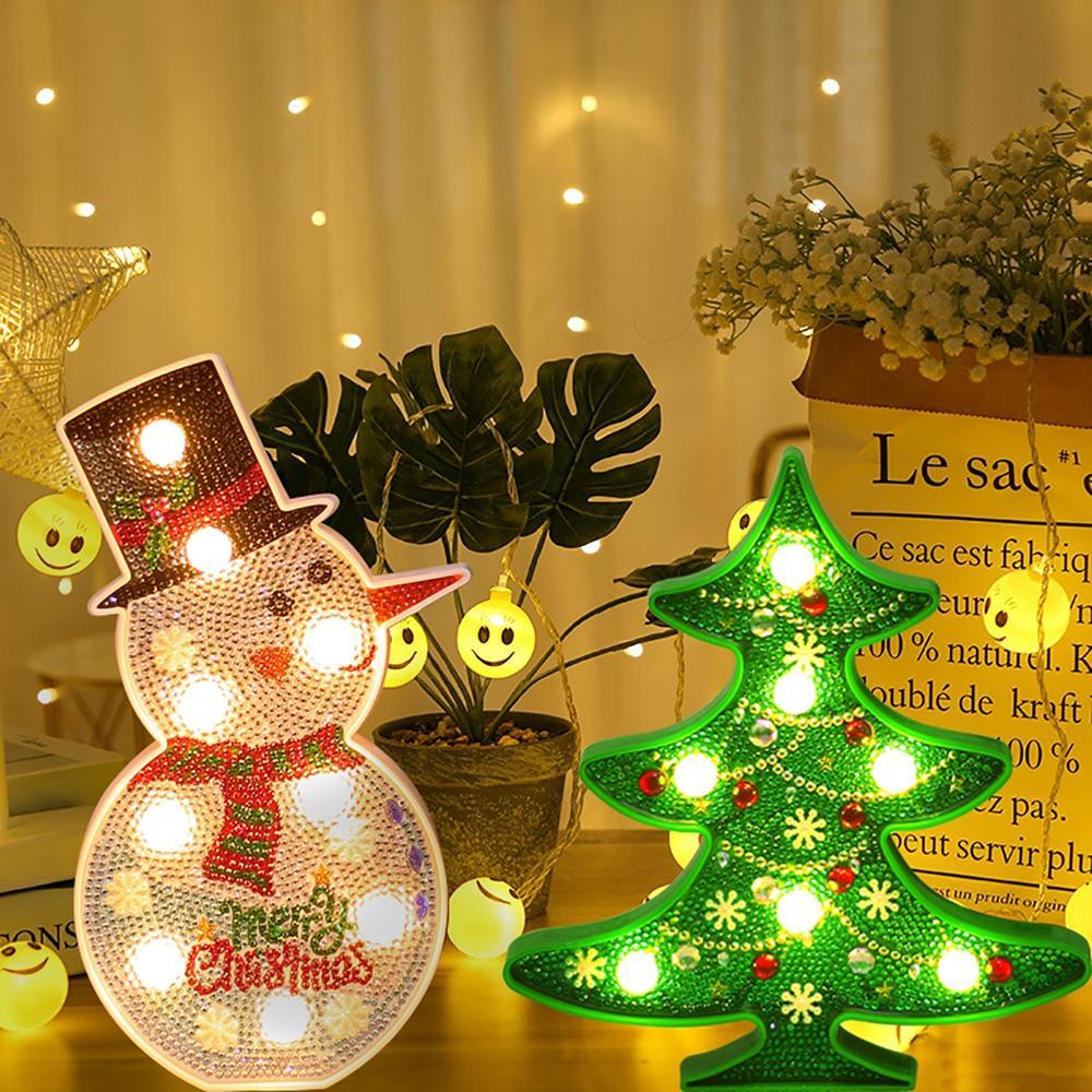 Creative colorful christmas tree snowman led night light ...