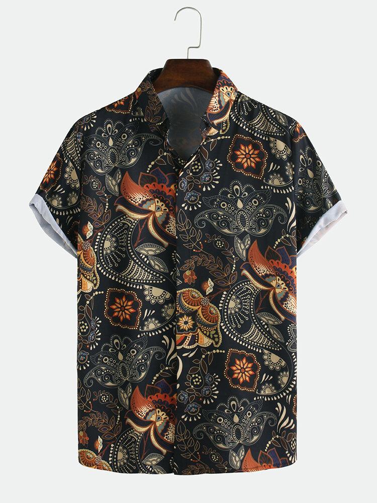 Картинка - Мужские летние повседневные рубашки с короткими рукавами и лацканами в стиле ретро с принтом