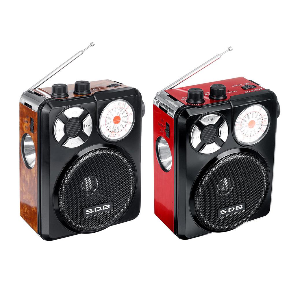 Bakeey 3.5mm AUX Full Band Sensitivitas Tinggi Radio FM AM U Disk TF SD Player Portable Dengan Senter Isi Ulang