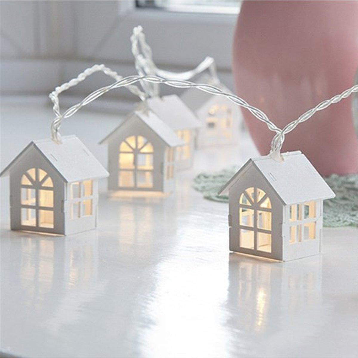 1.5M Warm White 10LED String Light Battery Powered House Shape Fairy Lamp Wedding Party Festival Home Indoor Decor