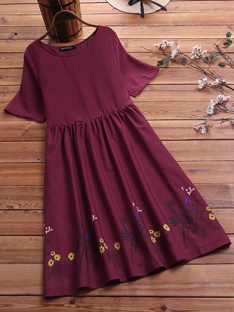 Женское повседневное платье с цветочным принтом с коротким рукавом Платье фото
