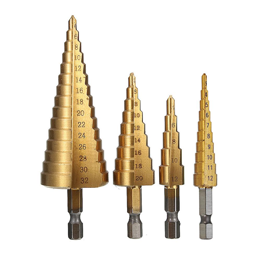 Drillpro 4Pcs 1/4 Inch Hex Shank HSS Titanium Coated Step Drill Bit Set 3-12/4-12/4-20/4-32mm