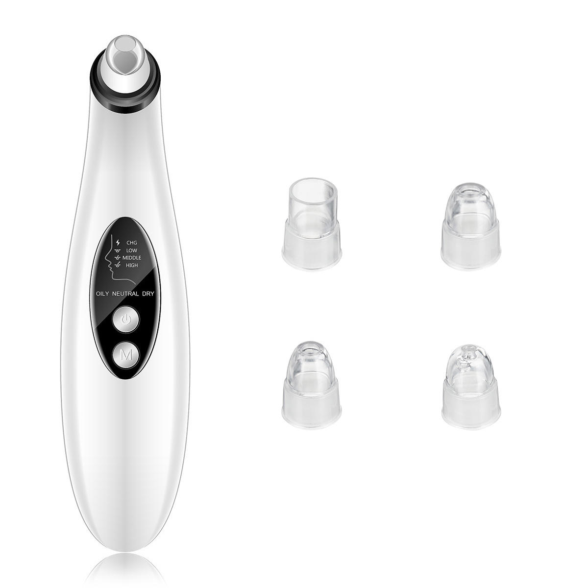 3 Modes Electric Vacuum Blackhead Acne Remover USB Charging LCD Face Nose Pore Cleaner Dermabrasion Device with 4 Suction Probes