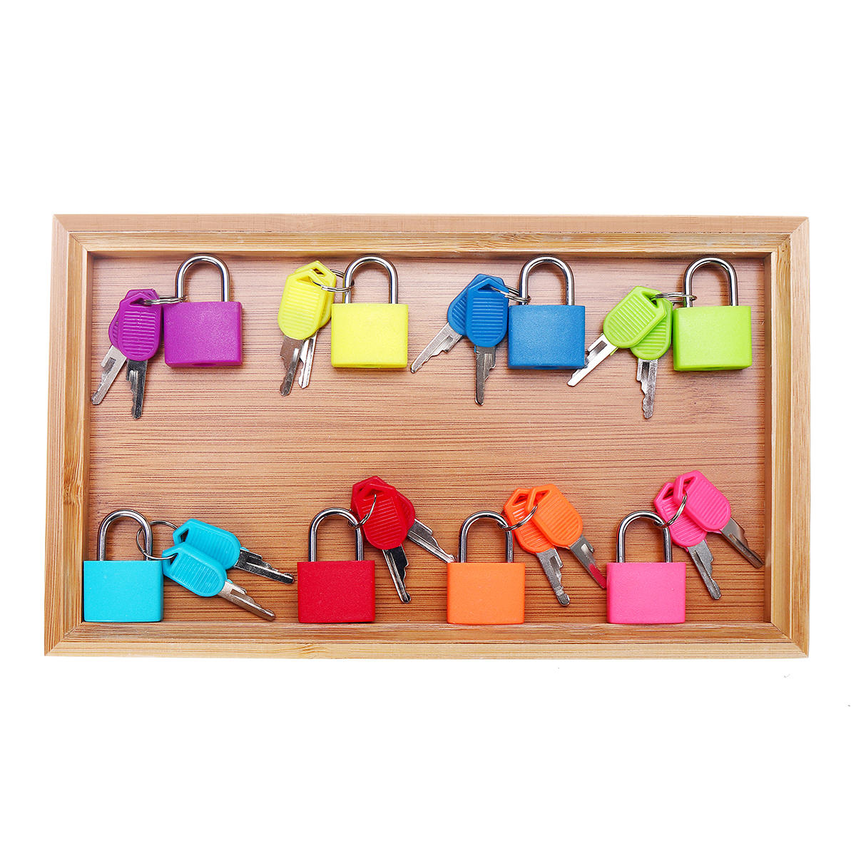 Montessori Locks and Keys with Bamboo Tray Practical Life Material Educational Toys for Children Preschool Learning Materials