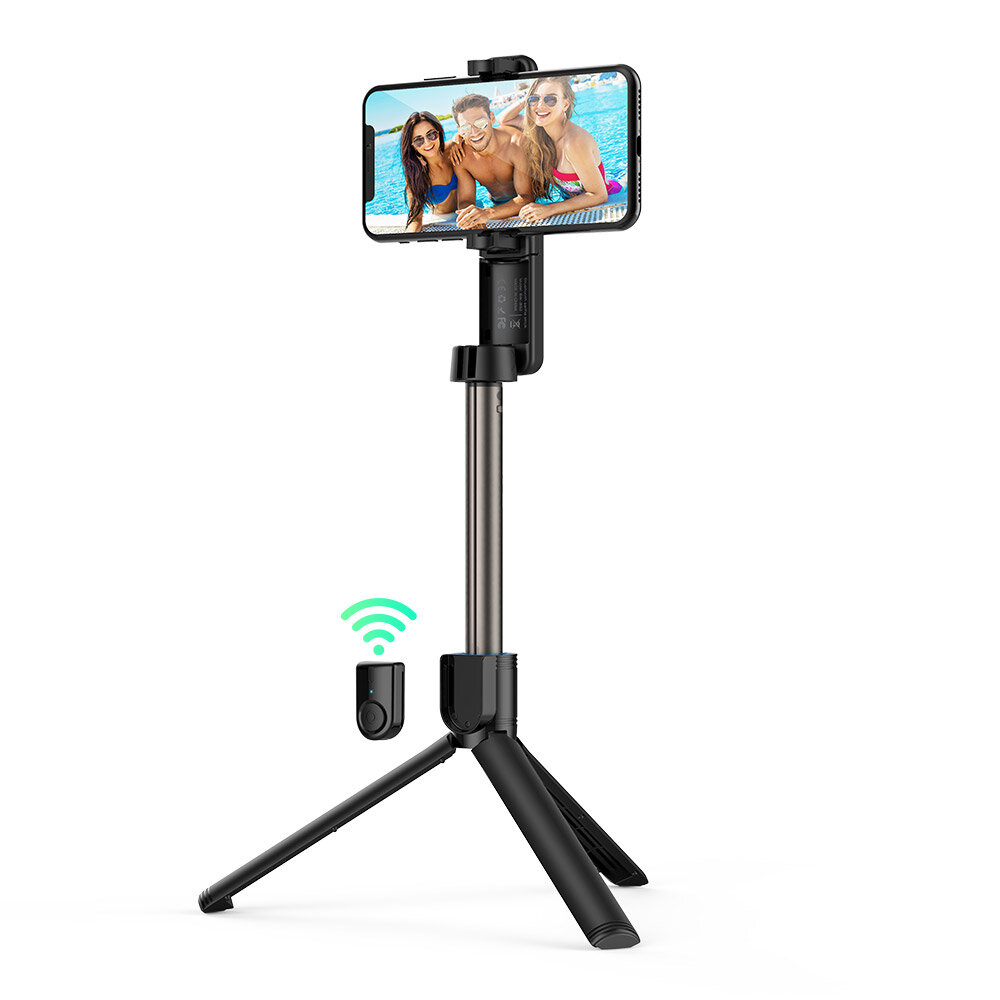 BlitzWolf® BW-BS2 bluetooth Selfie Stick Remote Control Tripod with Rotatable Phone Clamp