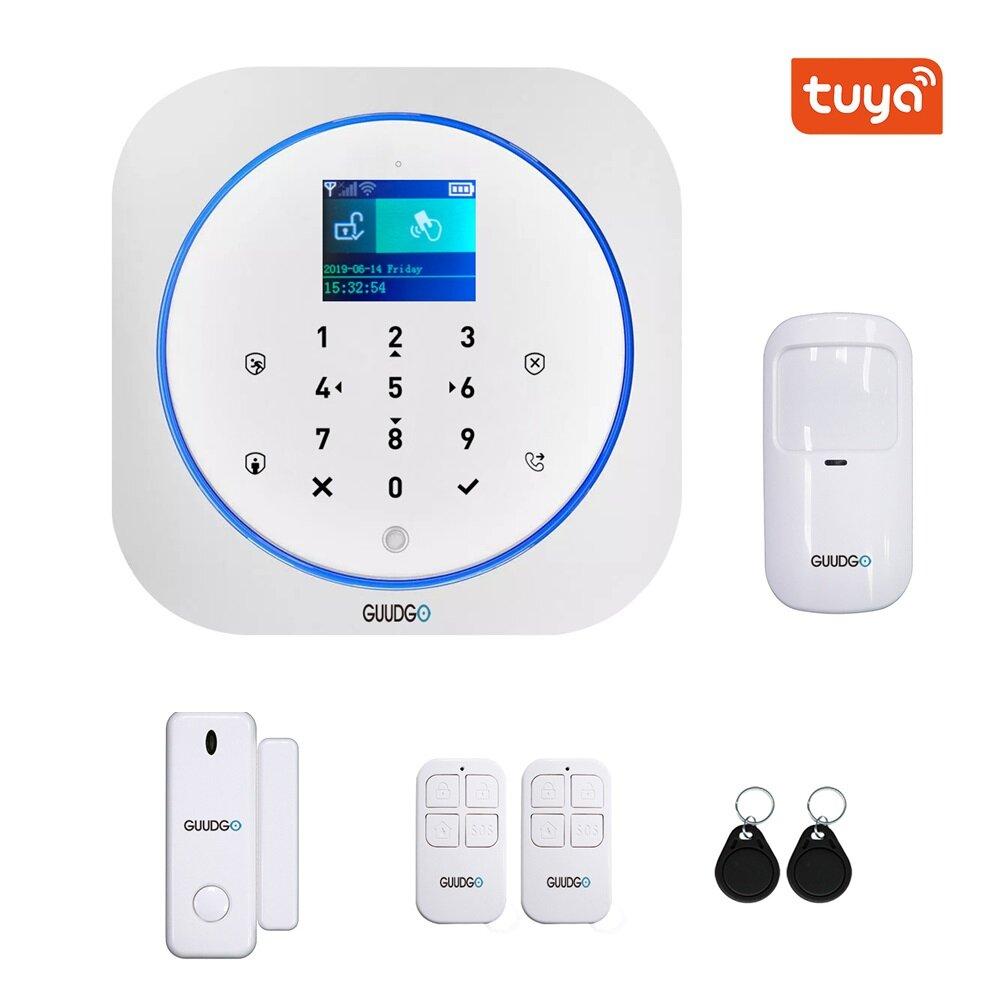 GUUDGO Tuya APP Akıllı WiFi GSM Ev Güvenlik Alarm Sistemi Dedektörü Ev Alarm 433 MHz Alexa Google IFTTT Ile Uyumlu