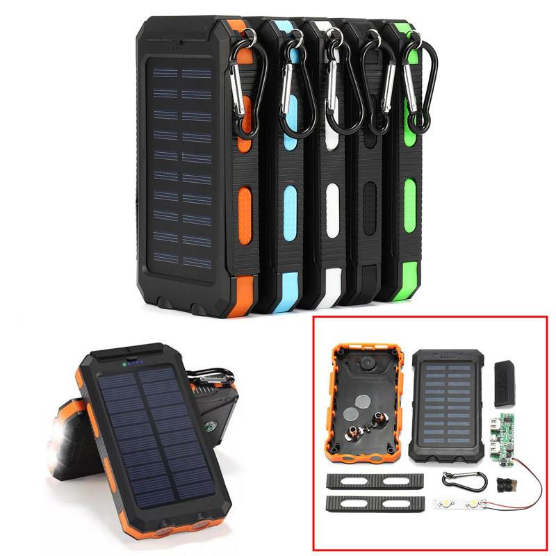 Carga eléctrica Solar Power Bank Caso 2 LED Puertos duales Impermeable Power Bank para Smartphone