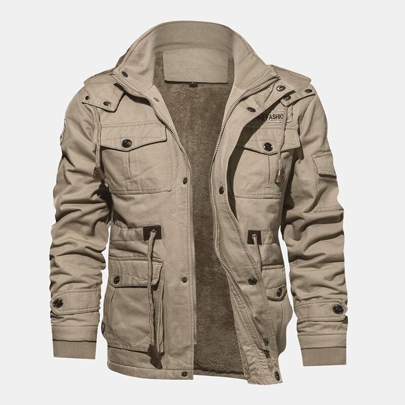 Áo khoác nỉ nam mùa đông ấm áp trùm đầu nhiều túi cotton thường