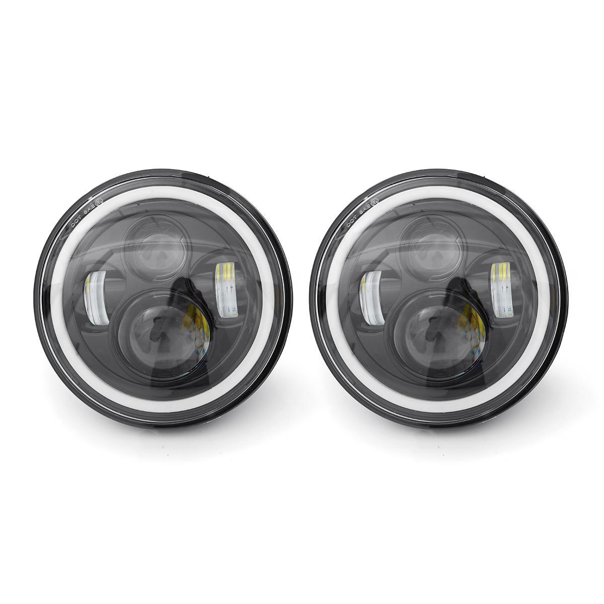 "2pcs 7"" Inch LED Headlights White/Yellow Light Beam Halo Angle Eye For Jeep Wrangler JK TJ LJ"