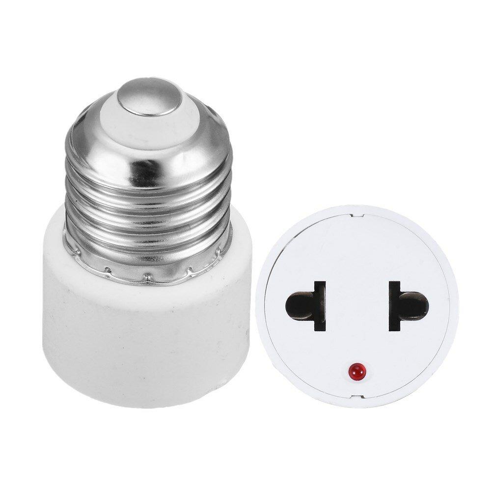 AC220V E27 Base Lamp Holder Bulb Adapter to US Plug 2 Hole Flat Socket