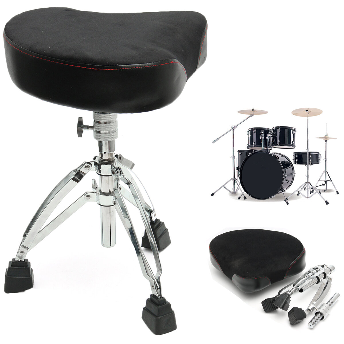 Yinyoute Z-220 Leather Suede Threaded Rod Drum Stool for Drummer