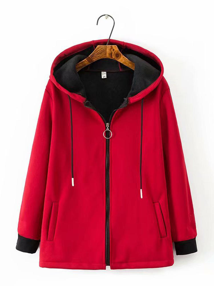 Solid Color Loose Drawstring Pocket Hooded Coats for Women