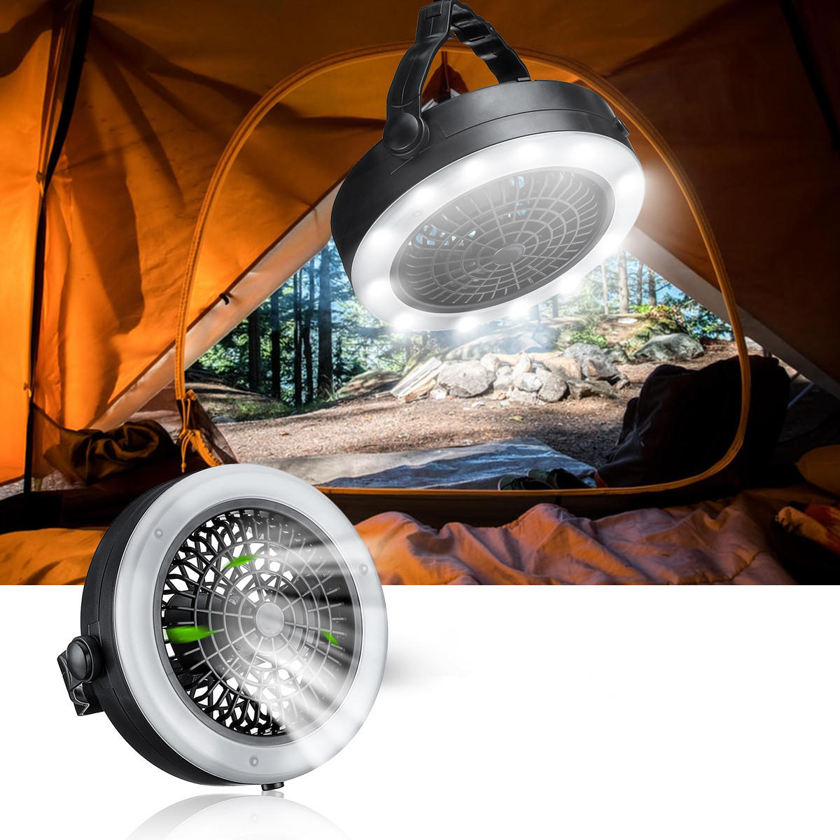 2 In 1 12 Led Camping Lights Fan Lantern Lamp Flashlight Ceiling