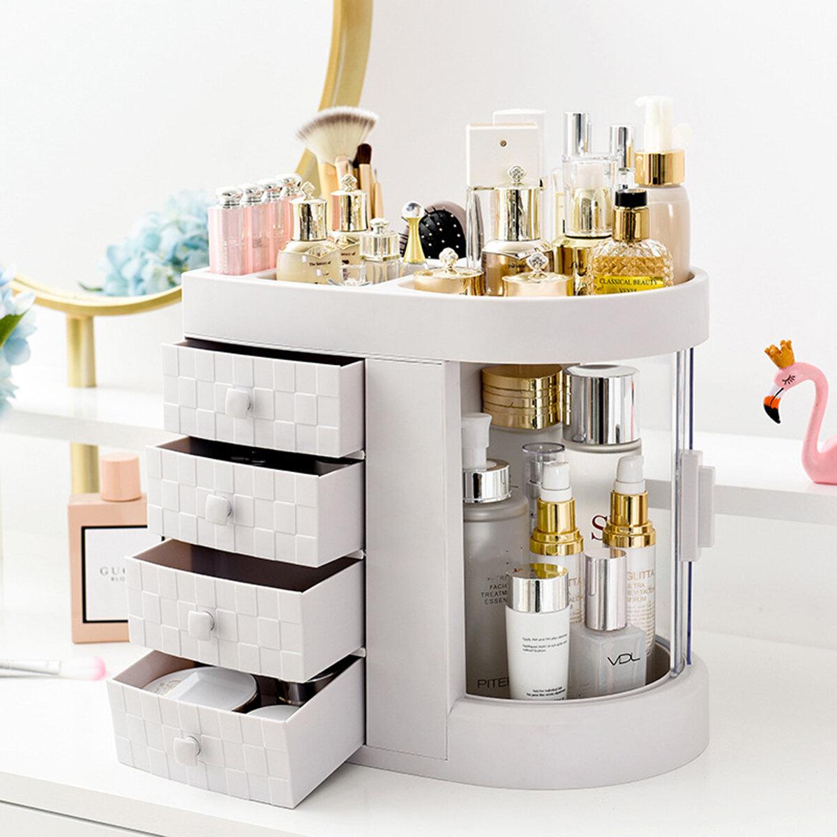 Dressing Box Transparent Desktop Large Capacity Drawer Integrated Skin Care Lipstick Makeup Organizer Storage Box