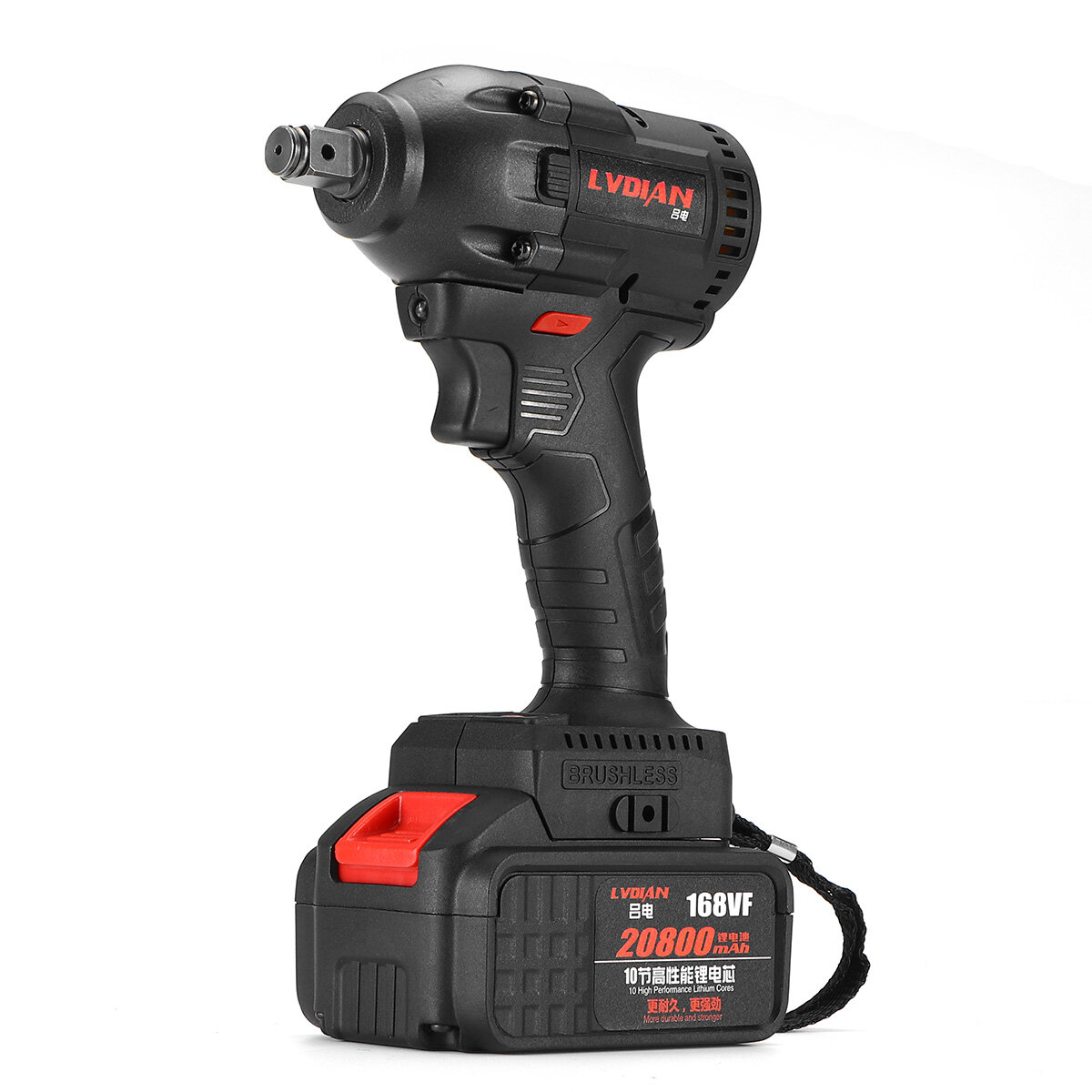 168VF 520N.m 20800mah Brushless Wrench Li-ion Battery Electric Wrench Cordless Waterproof Impact Wrench Kit