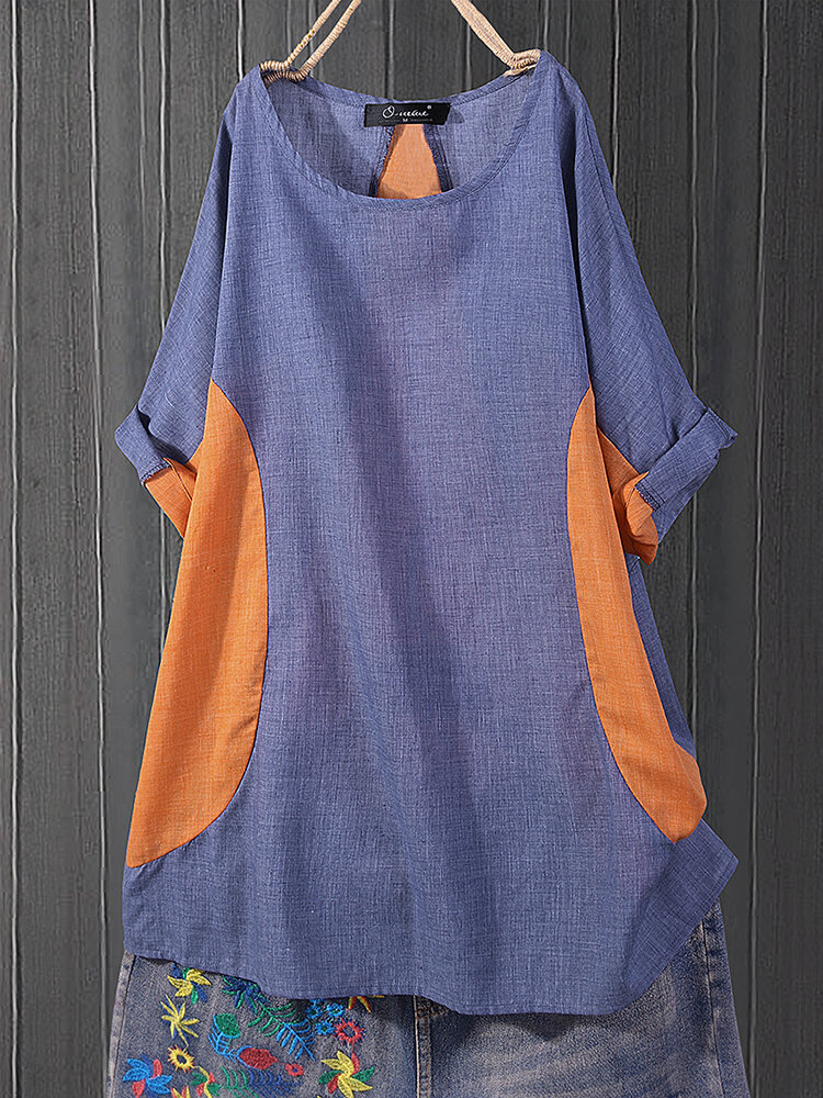 Plus Size Splice Contrast color Casual Women Blouse