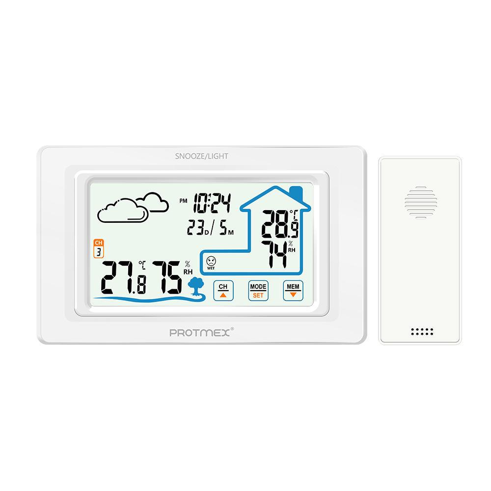 Đồng hồ báo thức điện tử đa chức năng để dự báo thời tiết với nhiệt kế cảm ứng