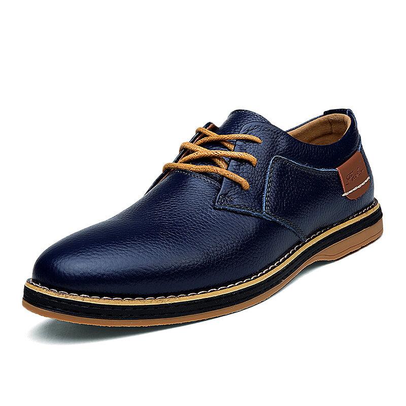 الرجال جلد طبيعي النمط البريطاني مريح أوكسفورد أحذية عادية