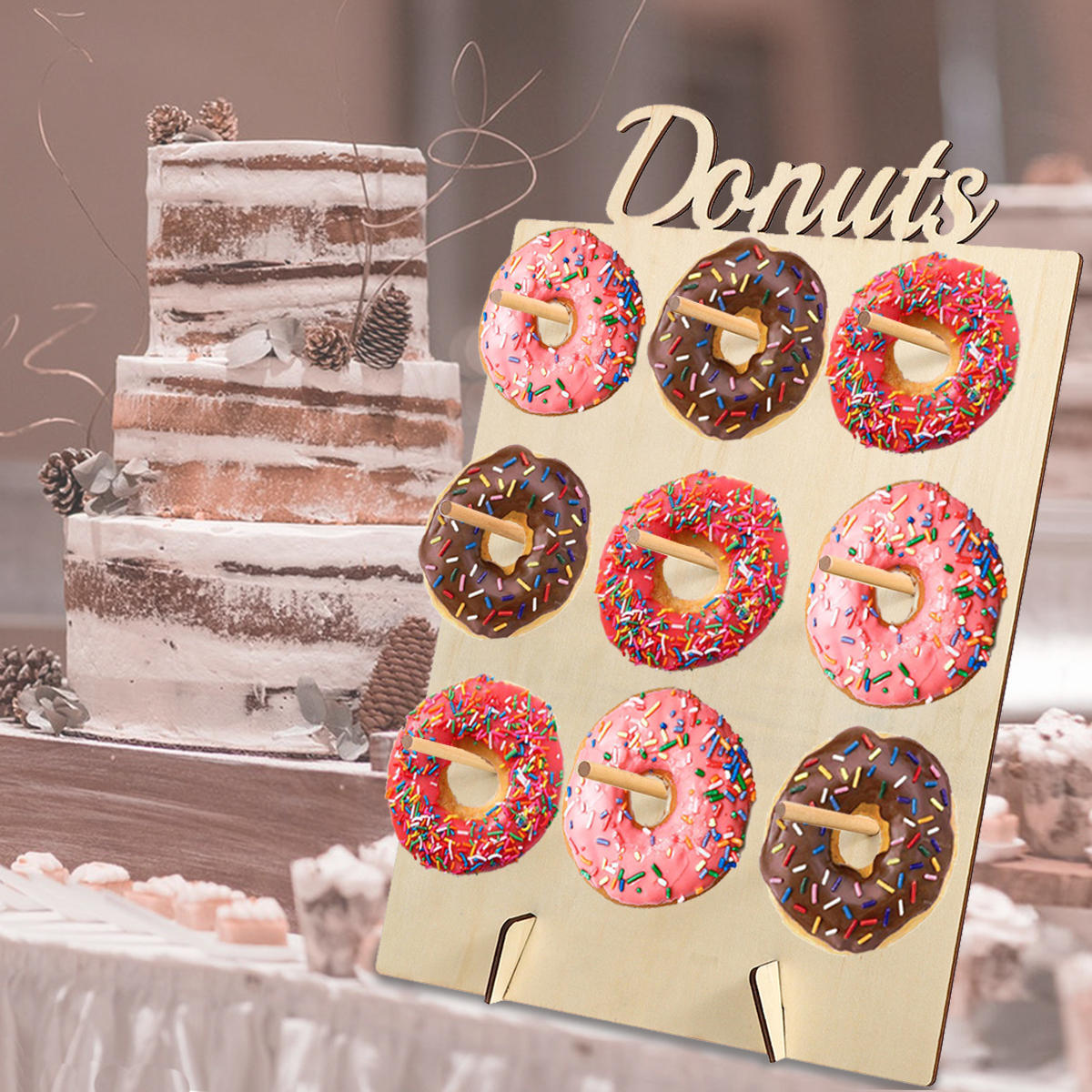 DIY Donut Wall Hold Candy Sweet Stand Wooden Table Holder Wedding Decorations
