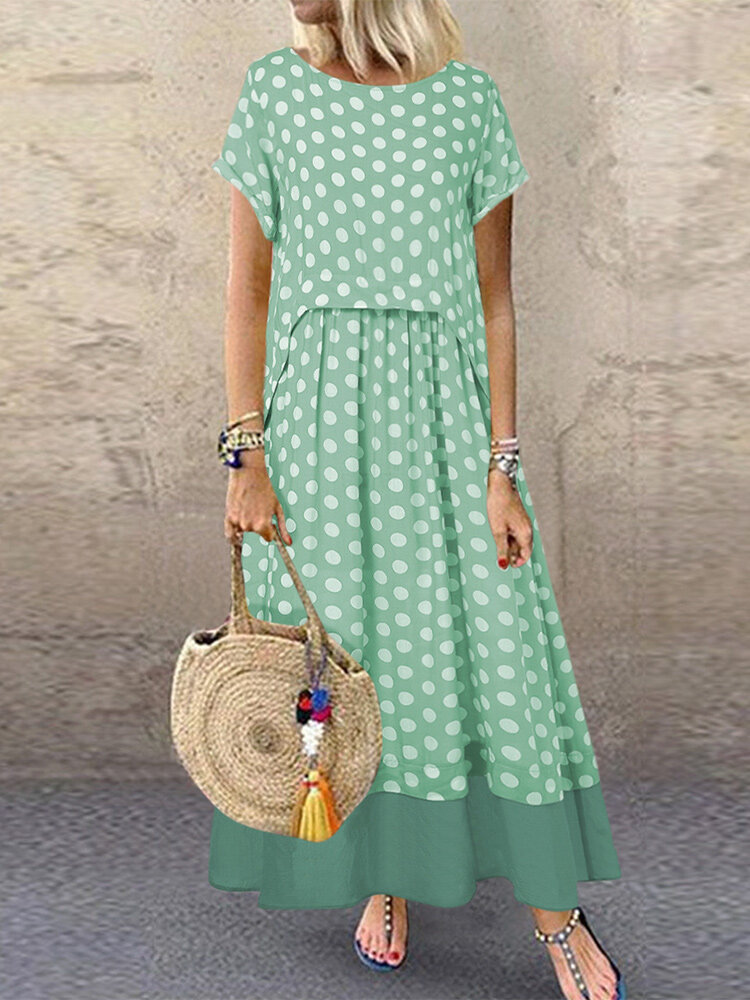 Polka Dot Two Pieces Summer Plus Size Maxi Dress