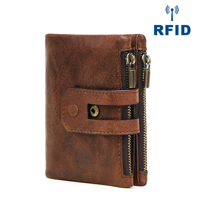 Men Genuine Leather Vintage Multi-slots Card Holder Zipper Anti-theft Small Short Wallet Purse