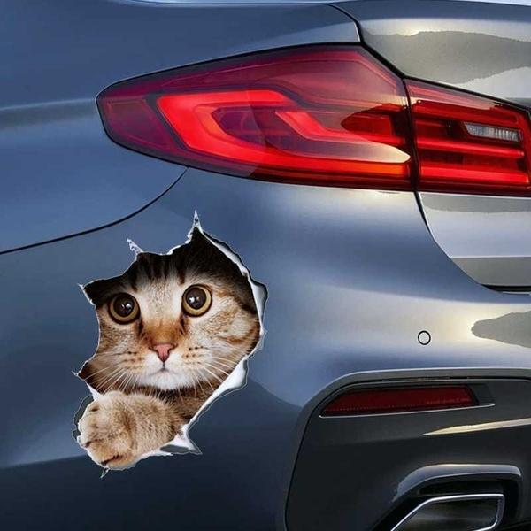 3D Breaking Through The Wall Kit ten Toilet Puppy Small Cartoon Car Stickers