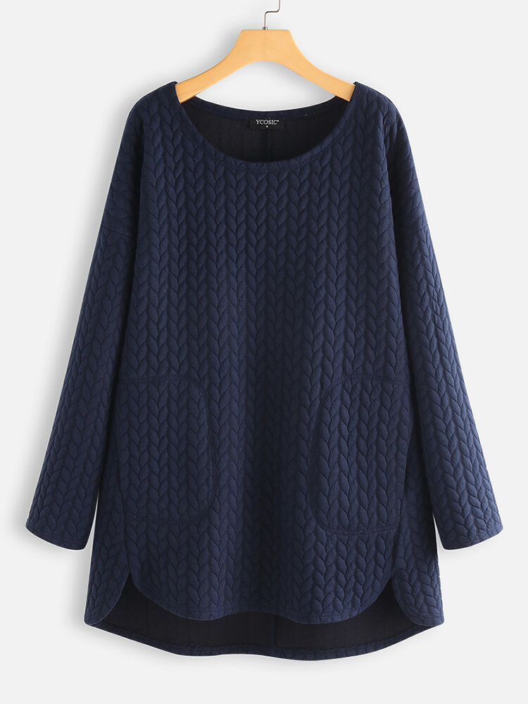 Casual Pockets Crew Neck Knitting Jacquard Sweaters