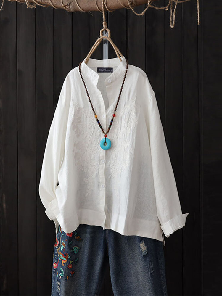 Vintage Women Casual Embroidered Button Long Sleeve Blouse