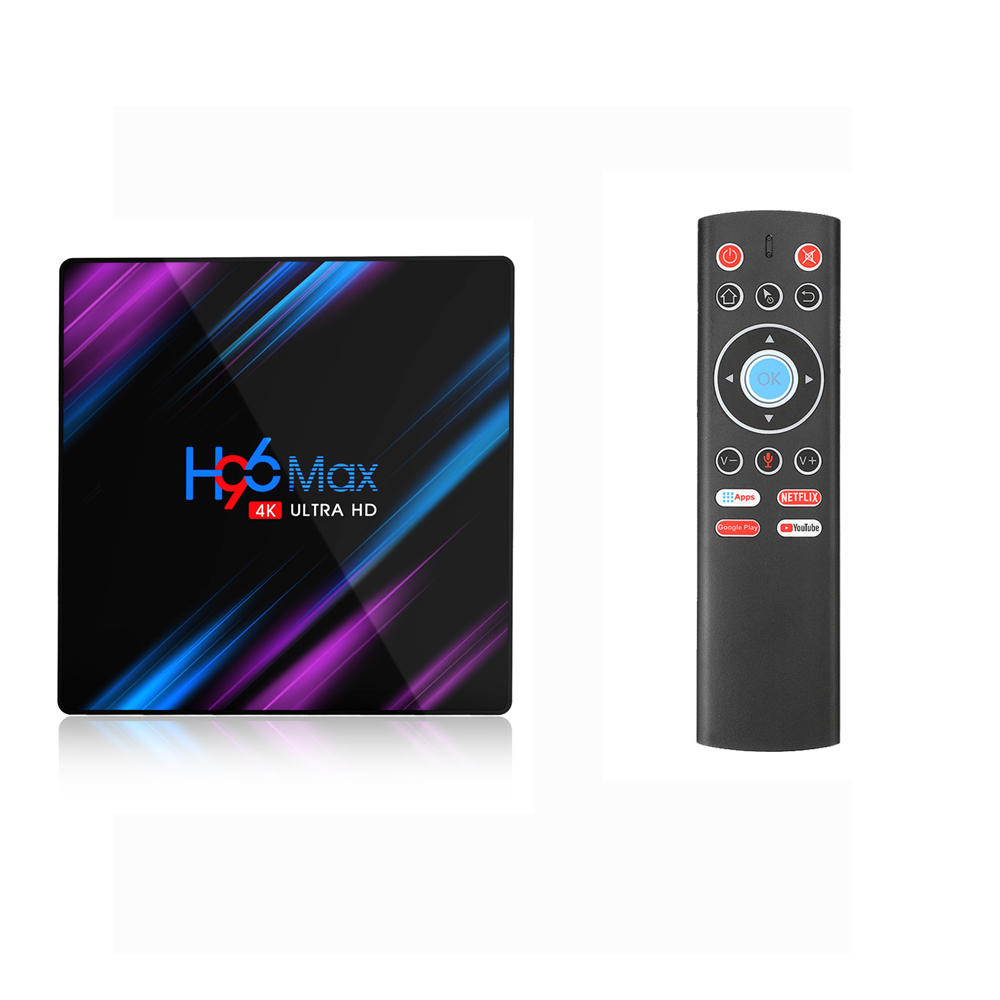 EU H96 MAX RK3318 4GB RAM 64GB ROM 5G WIFI bluetooth 4.0 Android 9.0 4K VP9 H.265 TV Box with T1 2.4G Wireless 6 axis Gyroscope Voice Remote Control