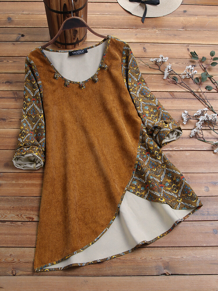 Corduroy Frog Button Ethnic Print Patchwork Long Sleeve Irregular Hem Vintage Blouse