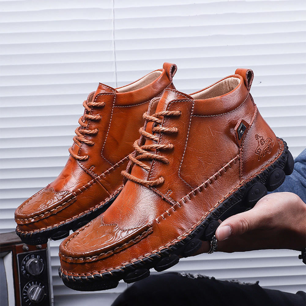 Genuine Leather Spicing Shoeface Large Size Hand Stitching Soft Sole Casual Ankle Boots