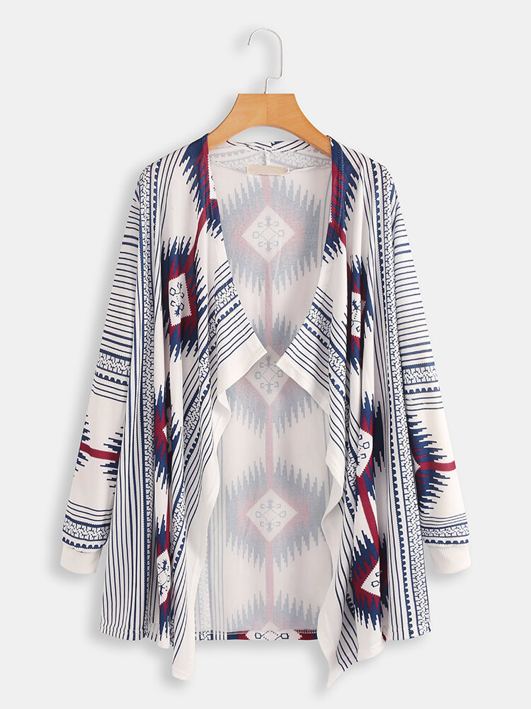 Plus Size Winter Contrast Color Print Long Sleeve Cloak Cardigans