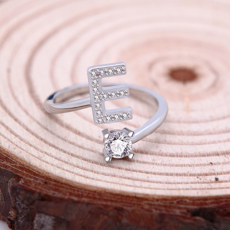 26 Letter English Ring Copper-plated White Gold Rhinestone Ring Geometric Adjustable Ring