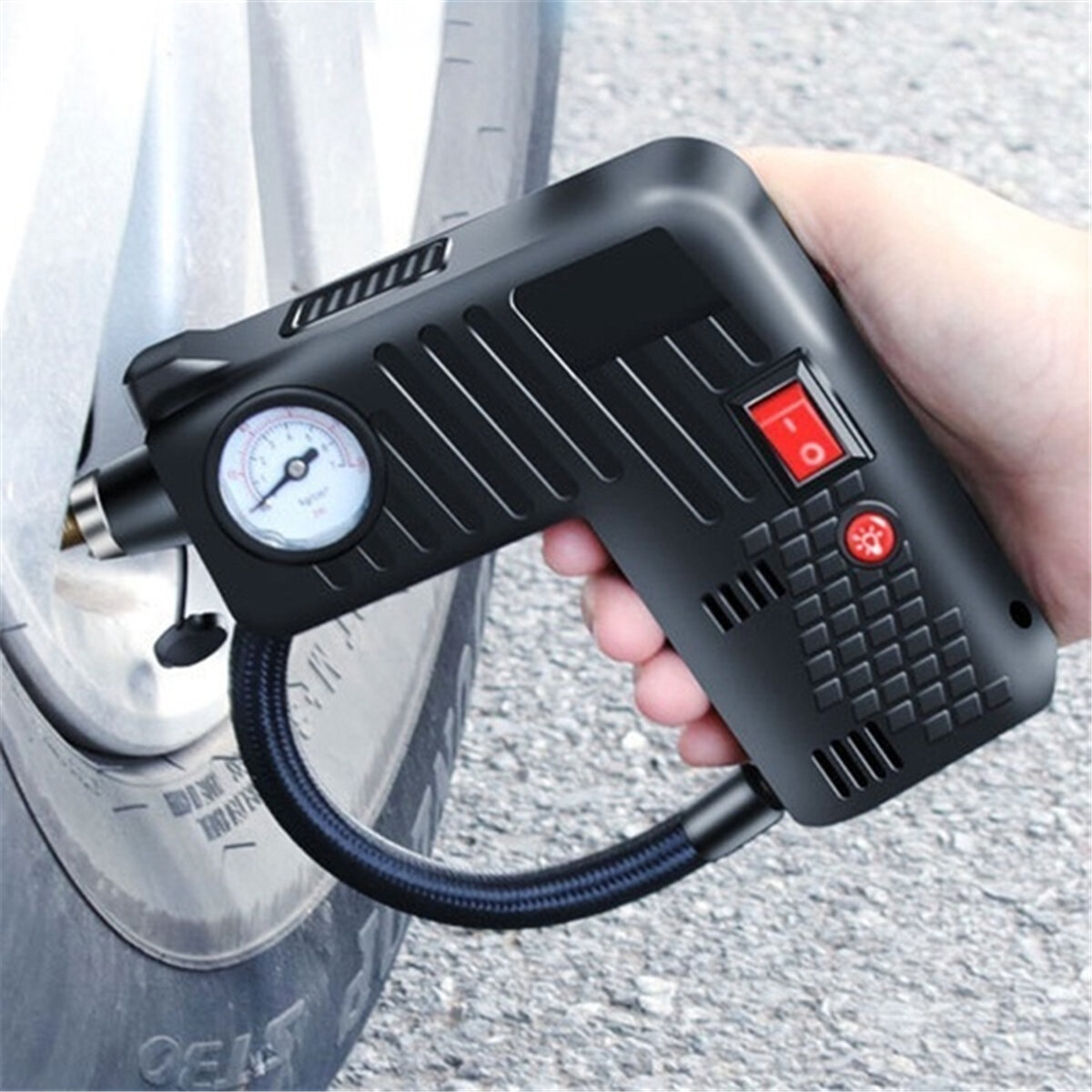 12V Portable Air Tire Inflator Pump LED Safety Hammer Compressor For Motorcycle Electric Auto Car Bike