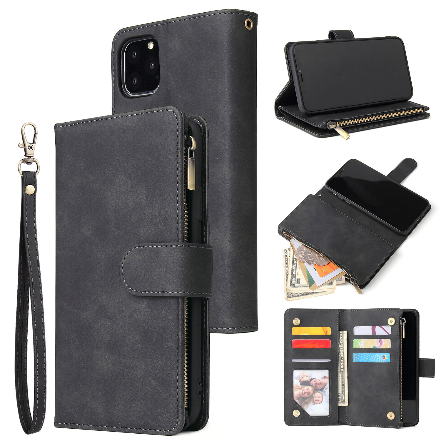 Luxury Flip PU Leather Zipper Wallet Phone Bag Multi Card Slots Protective Case for iPhone 11 / Pro / Pro Max / XR