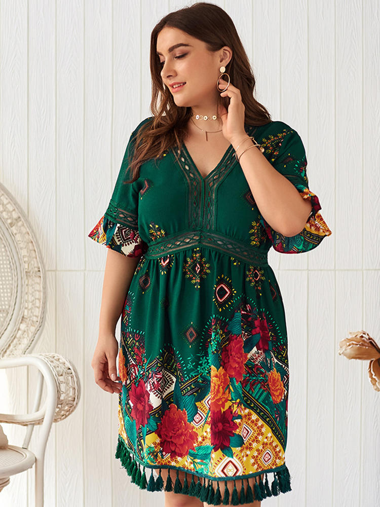 Bohemian Floral Tassel Empire Waist V-neck Plus Size Dress