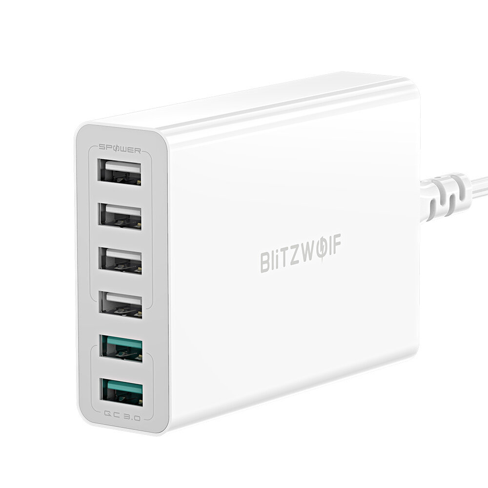 BlitzWolf® BW-S15 60W Dual QC3.0 6-Ports Desktop USB Smart Charger Adapter for iPhone 11 Pro XR X for Samsung Xiaomi Huawei