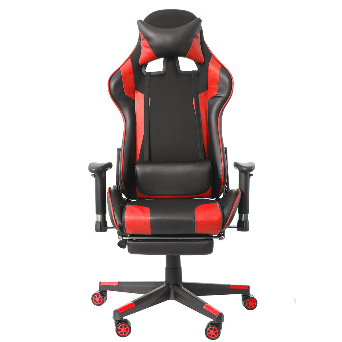 Office Chair Ergonomic Racing Gaming Chair with Adjustable Armrests High-Back PU Leather Laptop Desk Chair with Footrest for Home Office