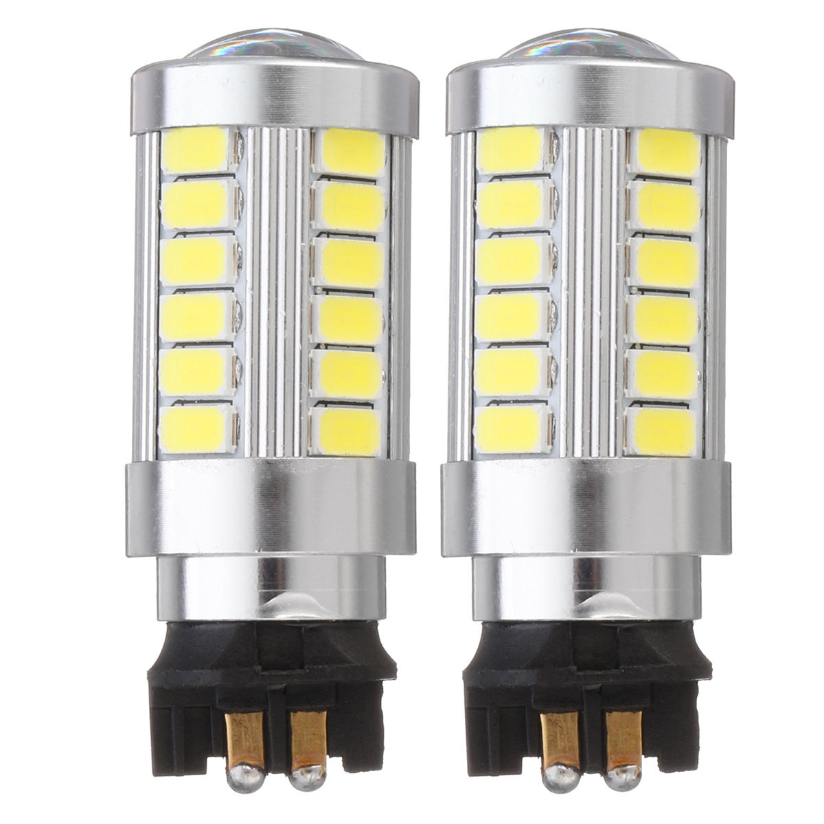 2PCS PW24W 33-SMD LED DRL Daytime Running Lights Replacement Fog Bulbs with Lens 12V 6500K White